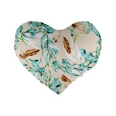 Floral Boho Watercolor Pattern Standard 16  Premium Flano Heart Shape Cushions by tarastyle