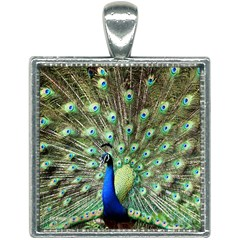 Blue And Green Peacock Square Necklace