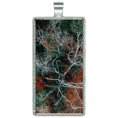 Aerial Photography Of Green Leafed Tree Rectangle Necklace