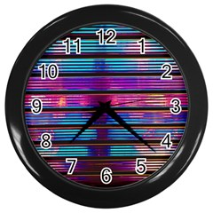 Blue And Pink Wallpaper Wall Clock (black)