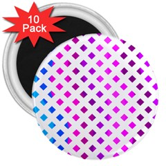 Lattice Aqua Pink Purple 3  Magnets (10 Pack)  by AnjaniArt