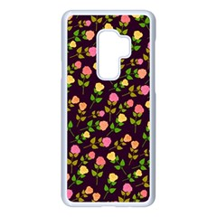 Flowers Roses Brown Samsung Galaxy S9 Plus Seamless Case(white) by Bajindul