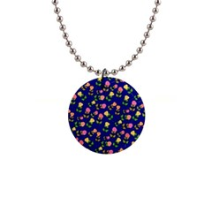 Flowers Roses Blue 1  Button Necklace