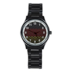 Germany Flag Hexagon Stainless Steel Round Watch