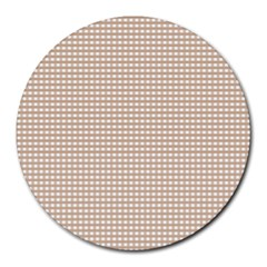 Gingham Check Plaid Fabric Pattern Grey Round Mousepads