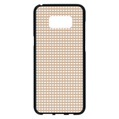 Gingham Check Plaid Fabric Pattern Grey Samsung Galaxy S8 Plus Black Seamless Case