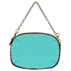 Gingham Plaid Fabric Pattern Green Chain Purse (two Sides) by HermanTelo