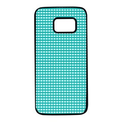 Gingham Plaid Fabric Pattern Green Samsung Galaxy S7 Black Seamless Case by HermanTelo