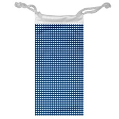Gingham Plaid Fabric Pattern Blue Jewelry Bag by HermanTelo
