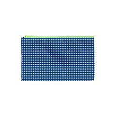 Gingham Plaid Fabric Pattern Blue Cosmetic Bag (xs)