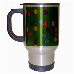 Balloon Grass Party Green Purple Travel Mug (silver Gray) by HermanTelo