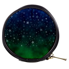 Background Blue Green Stars Night Mini Makeup Bag by HermanTelo