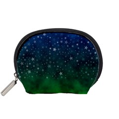 Background Blue Green Stars Night Accessory Pouch (small) by HermanTelo