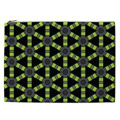 Backgrounds Green Grey Lines Cosmetic Bag (xxl)