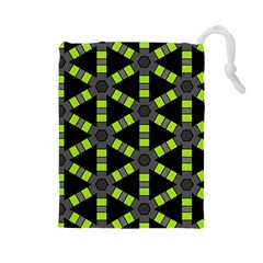 Backgrounds Green Grey Lines Drawstring Pouch (large)
