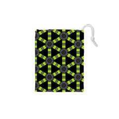 Backgrounds Green Grey Lines Drawstring Pouch (xs)