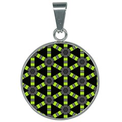 Backgrounds Green Grey Lines 25mm Round Necklace