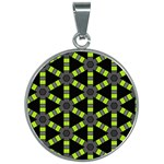 Backgrounds Green Grey Lines 30mm Round Necklace Front