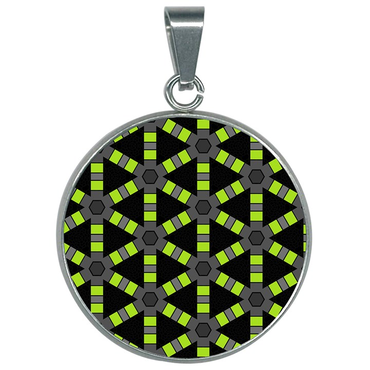 Backgrounds Green Grey Lines 30mm Round Necklace