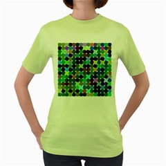 Geometric Background Colorful Women s Green T Shirt