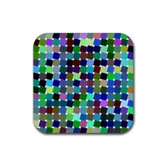 Geometric Background Colorful Rubber Square Coaster (4 Pack)