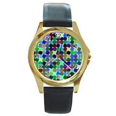Geometric Background Colorful Round Gold Metal Watch