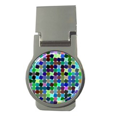 Geometric Background Colorful Money Clips (round)