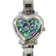 Geometric Background Colorful Heart Italian Charm Watch by HermanTelo