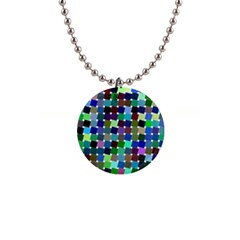 Geometric Background Colorful 1  Button Necklace