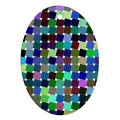 Geometric Background Colorful Oval Ornament (two Sides)