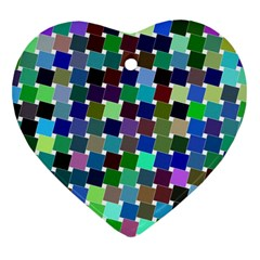 Geometric Background Colorful Heart Ornament (two Sides)
