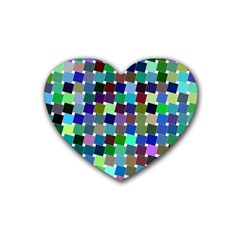 Geometric Background Colorful Heart Coaster (4 Pack)