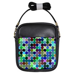 Geometric Background Colorful Girls Sling Bag