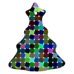 Geometric Background Colorful Christmas Tree Ornament (two Sides)