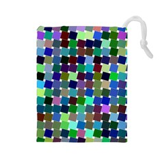 Geometric Background Colorful Drawstring Pouch (large)