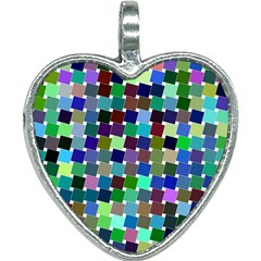 Geometric Background Colorful Heart Necklace