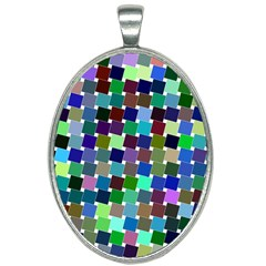 Geometric Background Colorful Oval Necklace