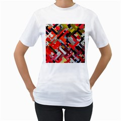 Maze Abstract Texture Rainbow Women s T-shirt (white) (two Sided)