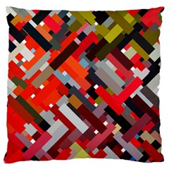 Maze Abstract Texture Rainbow Large Flano Cushion Case (one Side)
