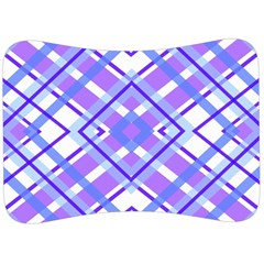 Geometric Plaid Purple Blue Velour Seat Head Rest Cushion