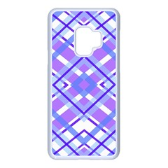 Geometric Plaid Purple Blue Samsung Galaxy S9 Seamless Case(white)