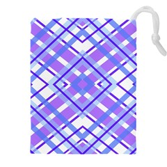 Geometric Plaid Purple Blue Drawstring Pouch (xxxl)