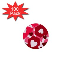 Pink Hearts Pattern Love Shape 1  Mini Buttons (100 Pack)  by Bajindul