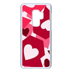Pink Hearts Pattern Love Shape Samsung Galaxy S9 Plus Seamless Case(white) by Bajindul