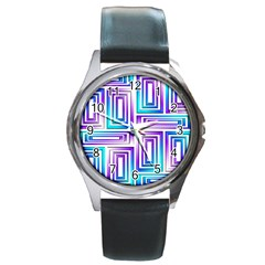 Geometric Metallic Aqua Purple Round Metal Watch