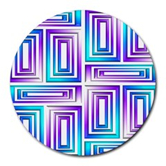 Geometric Metallic Aqua Purple Round Mousepads