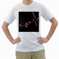Music Wallpaper Heartbeat Melody Men s T-shirt (white) (two Sided) by HermanTelo