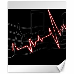 Music Wallpaper Heartbeat Melody Canvas 11  X 14  by HermanTelo