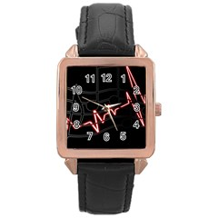 Music Wallpaper Heartbeat Melody Rose Gold Leather Watch  by HermanTelo