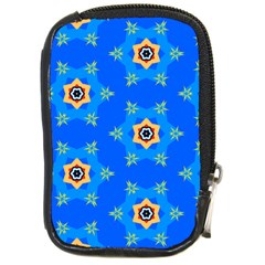 Pattern Backgrounds Blue Star Compact Camera Leather Case by HermanTelo